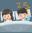 husband snores loudly every night vector image vector image