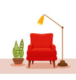 interior with an armchair potted plant floor lamp vector image