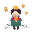 lovely girl princess cartoon character in warm vector image