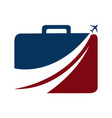 luggage and aeroplane travel logo vector image vector image