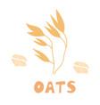 oats set bag oat flour sack grains wooden vector image vector image