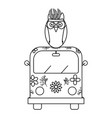 owl bird with feathers hat and van bohemian style vector image