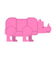 pink rhinoceros isolated unique vanishing animal vector image