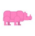 pink rhinoceros isolated unique vanishing animal vector image vector image