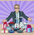 pop art smiling seller with household appliances vector image
