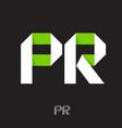 public relations logo pr monogram ribbon vector image