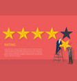 rating poster two man on ladder hanging fifth star vector image