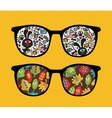 Retro sunglasses with monsters reflection in it vector image vector image