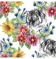 Seamless pattern with tigers yellow sunflowers vector image vector image