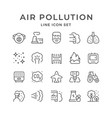 set line icons air pollution