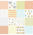 set of design elements of baby seamless patterns vector image vector image