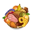 set of meat and fruits on plate vector image vector image