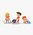 two boys and girl wearing orange vests collect vector image vector image