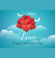 valentines day with heart shaped balloons vector image vector image
