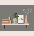 wall shelf for a scandinavian-style living room vector image vector image