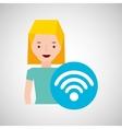 woman cartoon wifi wireless internet design vector image vector image
