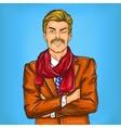 Confident pop art hipster man winking eye vector image