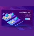 3d isometric site template with workflow vector image