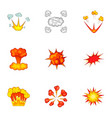 animation explosion icons set cartoon style vector image vector image