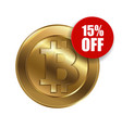 bitcoin sign with sale sign 15 percent vector image vector image
