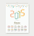 Calendar 2015 Paper origami number template design vector image