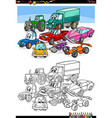 cartoon cars and vehicles coloring book page vector image vector image