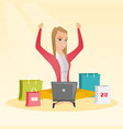 caucasian woman using laptop for online shopping vector image vector image