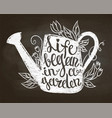 chalk silhouette of watering can and lettering vector image vector image
