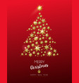 christmas gold star shape tree on red background vector image vector image