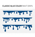 classic blue dripping paint set liquid drips vector image vector image