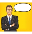 Confident pop art man in a suit and glasses vector image vector image