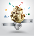 Creative light bulb idea with crumpled paper vector image vector image