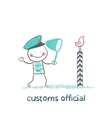customs official bird catches the butterfly net vector image vector image