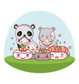 cute animals with sushi kawaii vector image vector image