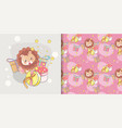 cute lion greeting card and pattern set vector image vector image