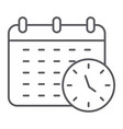 deadline thin line icon organizer and plan vector image vector image