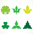 Decorative green leaves pattern set isolated vector image vector image