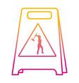 degraded line plastic caution emblem and laborer vector image vector image