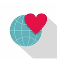 Earth world globe with heart icon flat style vector image vector image