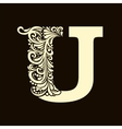 Elegant capital letter U in the style Baroque vector image vector image