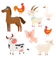farm animals - cow sheep horse pig goat vector image