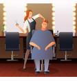 female hairdresser flat composition vector image vector image
