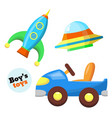 flat car rocket flying caucer toys set vector image