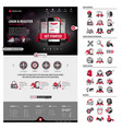full pack business website template and icons vector image