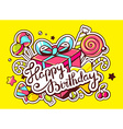 gift box and confection with text happy vector image