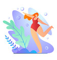 girl doing exercises in bathing suit cartoon flat vector image
