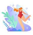 girl doing exercises in bathing suit cartoon flat vector image vector image