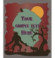 Halloween poster with werewolf silhouettes vector image