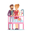 happy parents with baby family couple cuddling vector image vector image