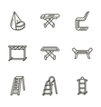 Housekeeping black line icons vector image vector image